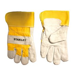 Stanley Tools - Pearl Gray FleeceLined Cowhide Leather Palm with a Yellow Canvas Back - S72541