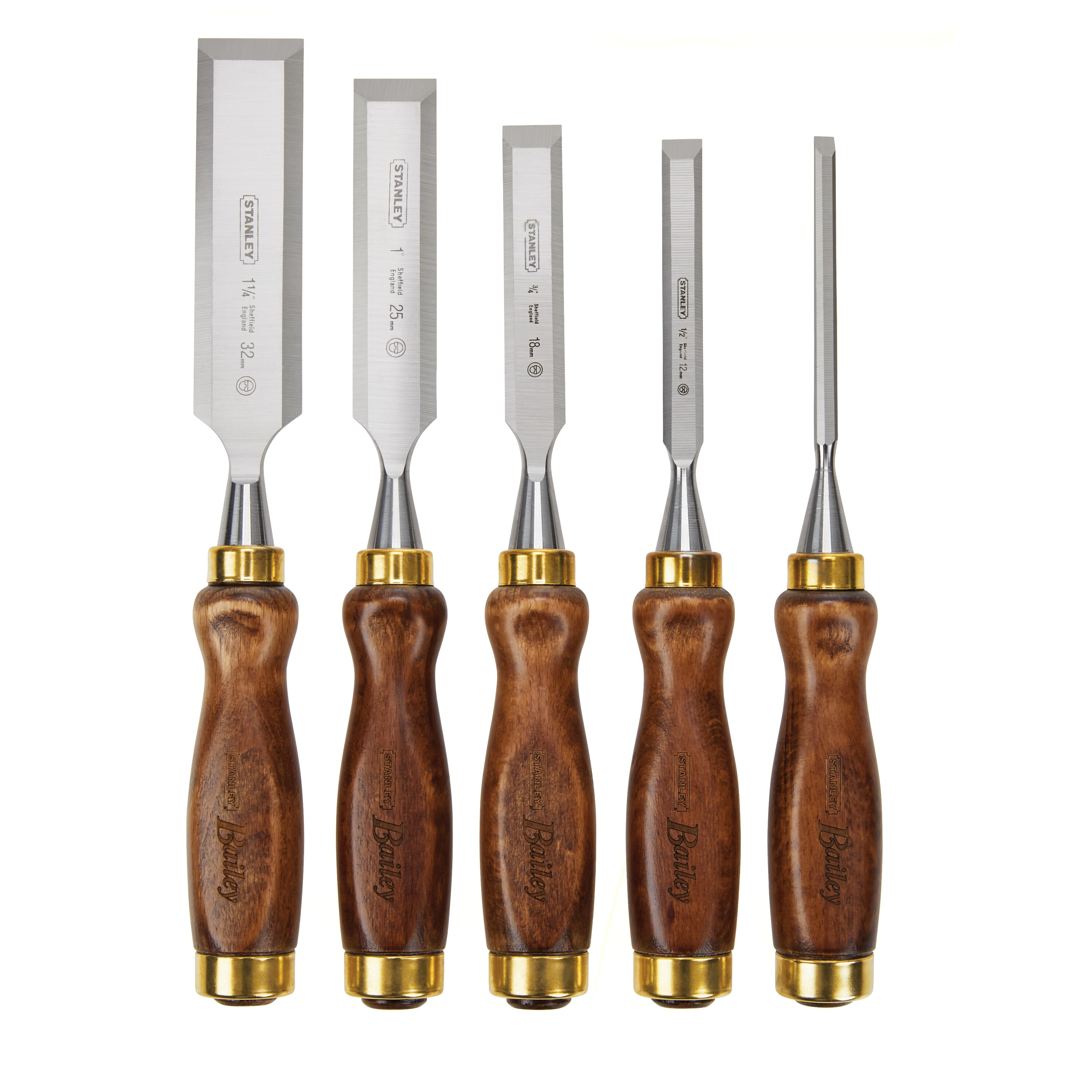 Stanley Tools - 5 pc Bailey Chisel Set with Leather Pouch - 16-401