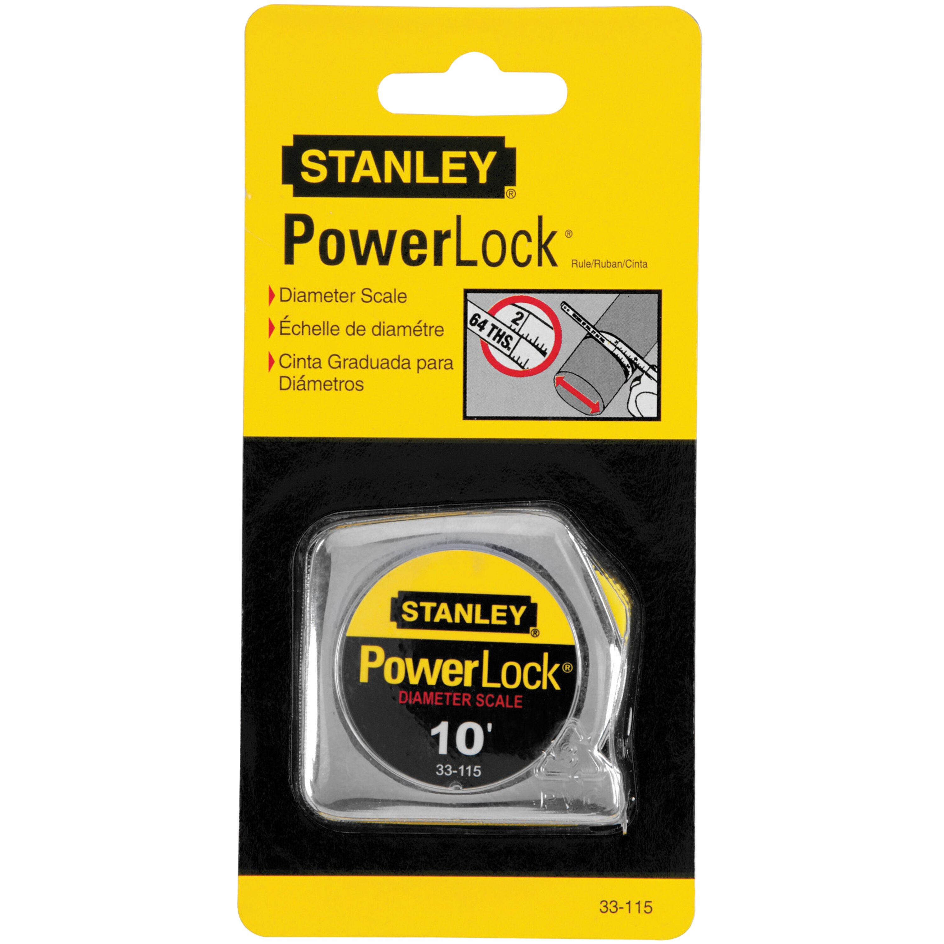 Stanley Tools - 10 ft PowerLock Pocket Tape Measure with Diameter Scale - 33-115