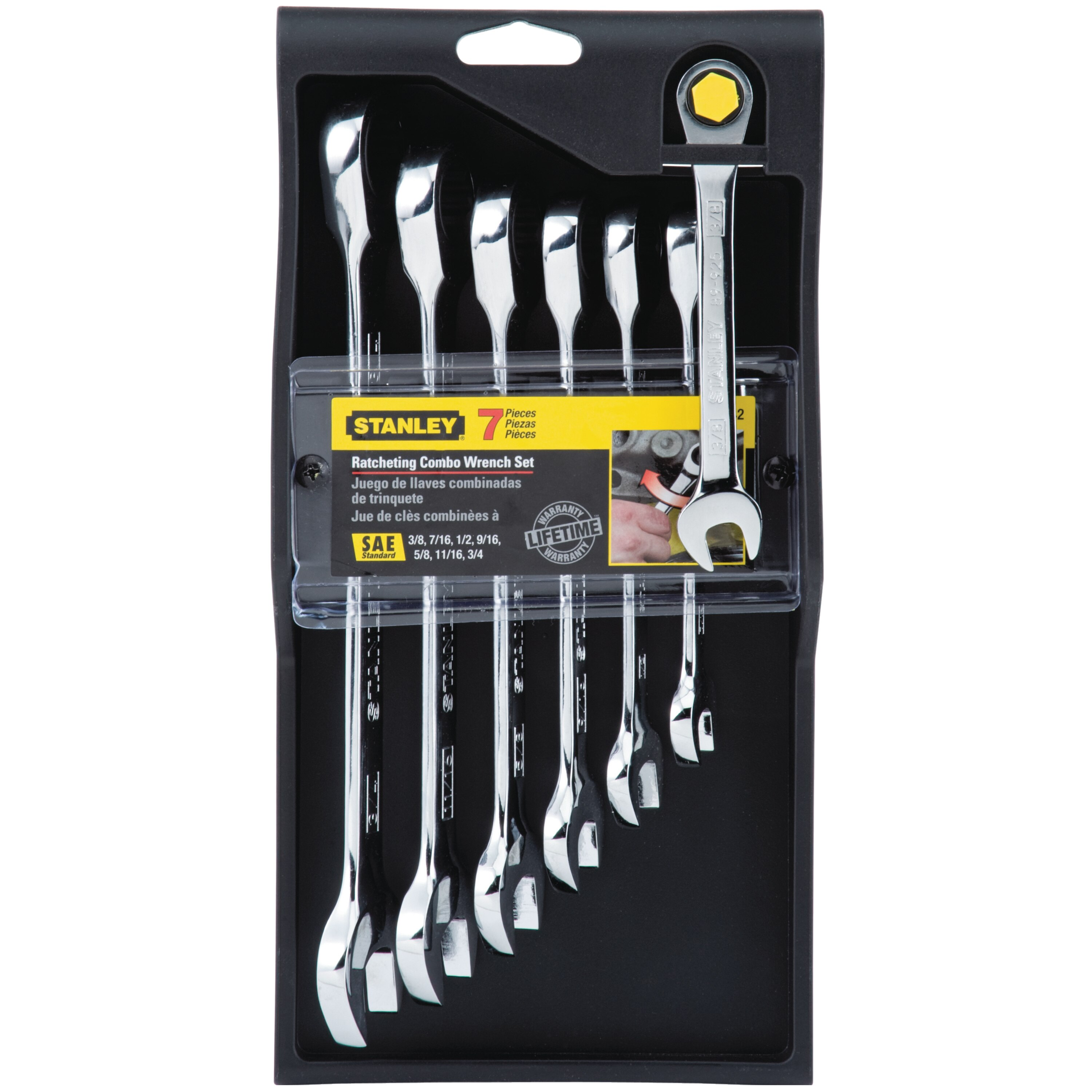 Stanley Tools - 7 pc Ratcheting Combination Wrench SAE Set - 94-542W