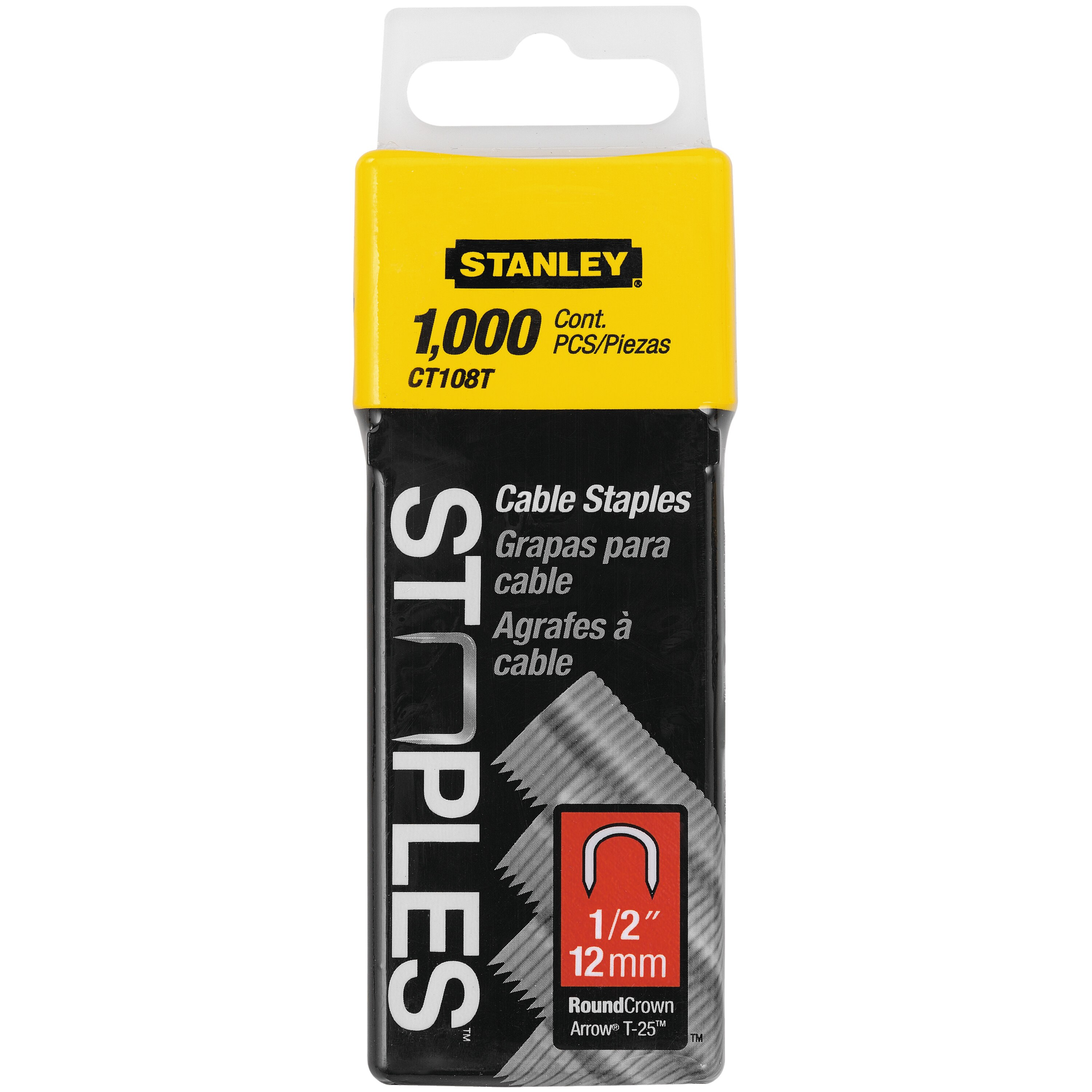 Stanley Tools - 1000 pc 12 inCable Staples - CT108T