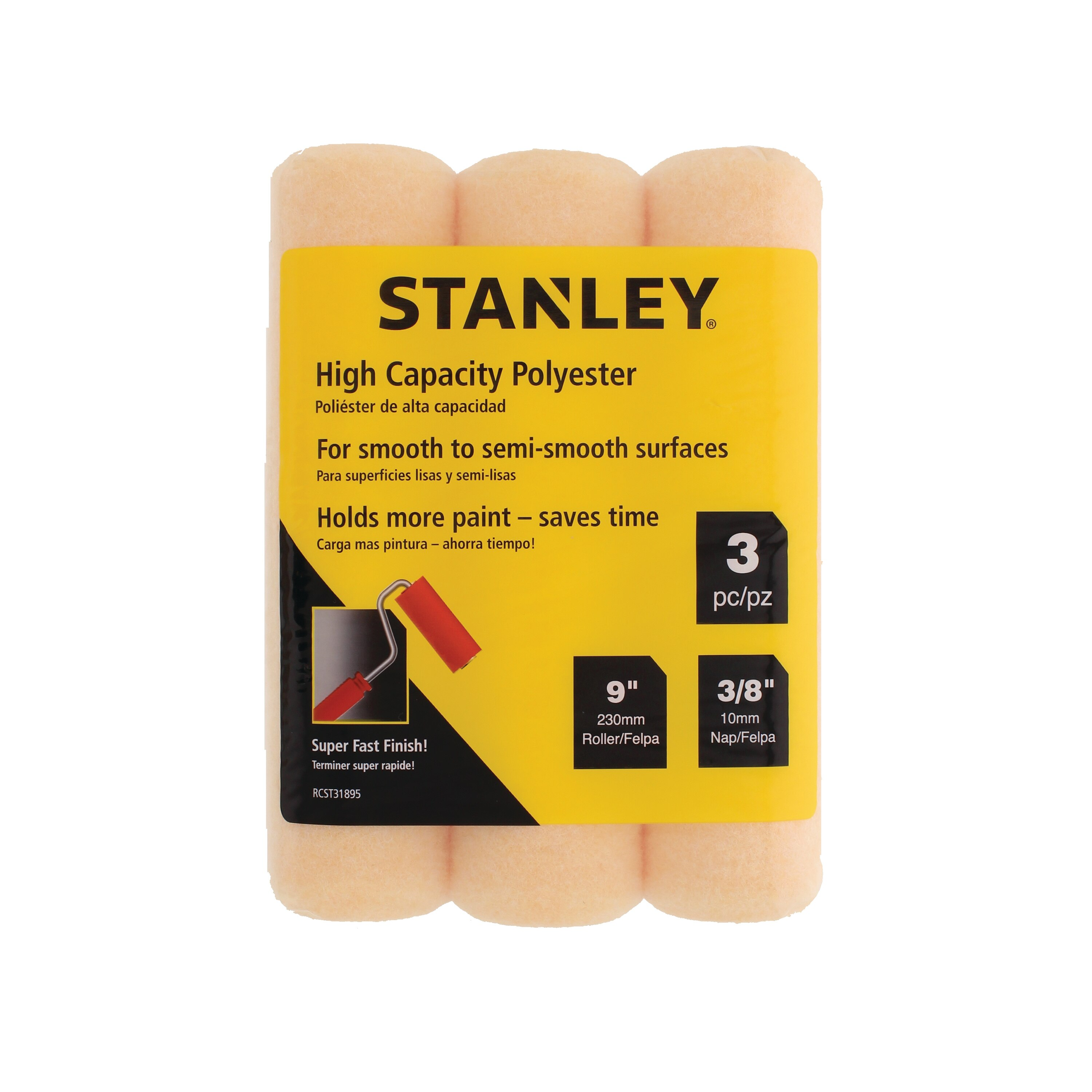 Stanley Tools - 3 pk 9 in x 38 in Polyester Roller Cover - RCST31895