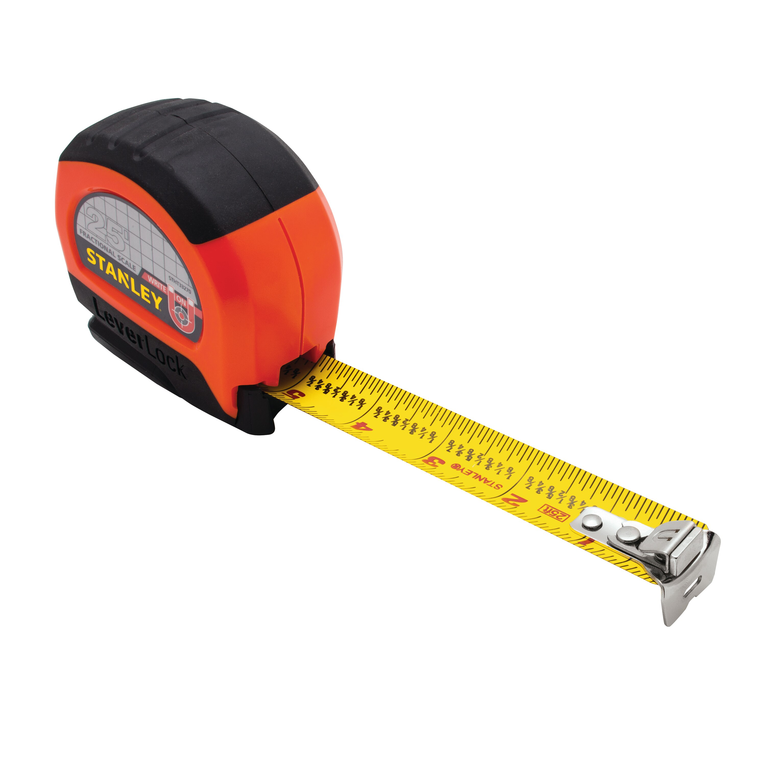 Stanley Tools - 25 ft Magnetic Tip  Fractional Read LEVERLOCK Tape Measure - STHT33270