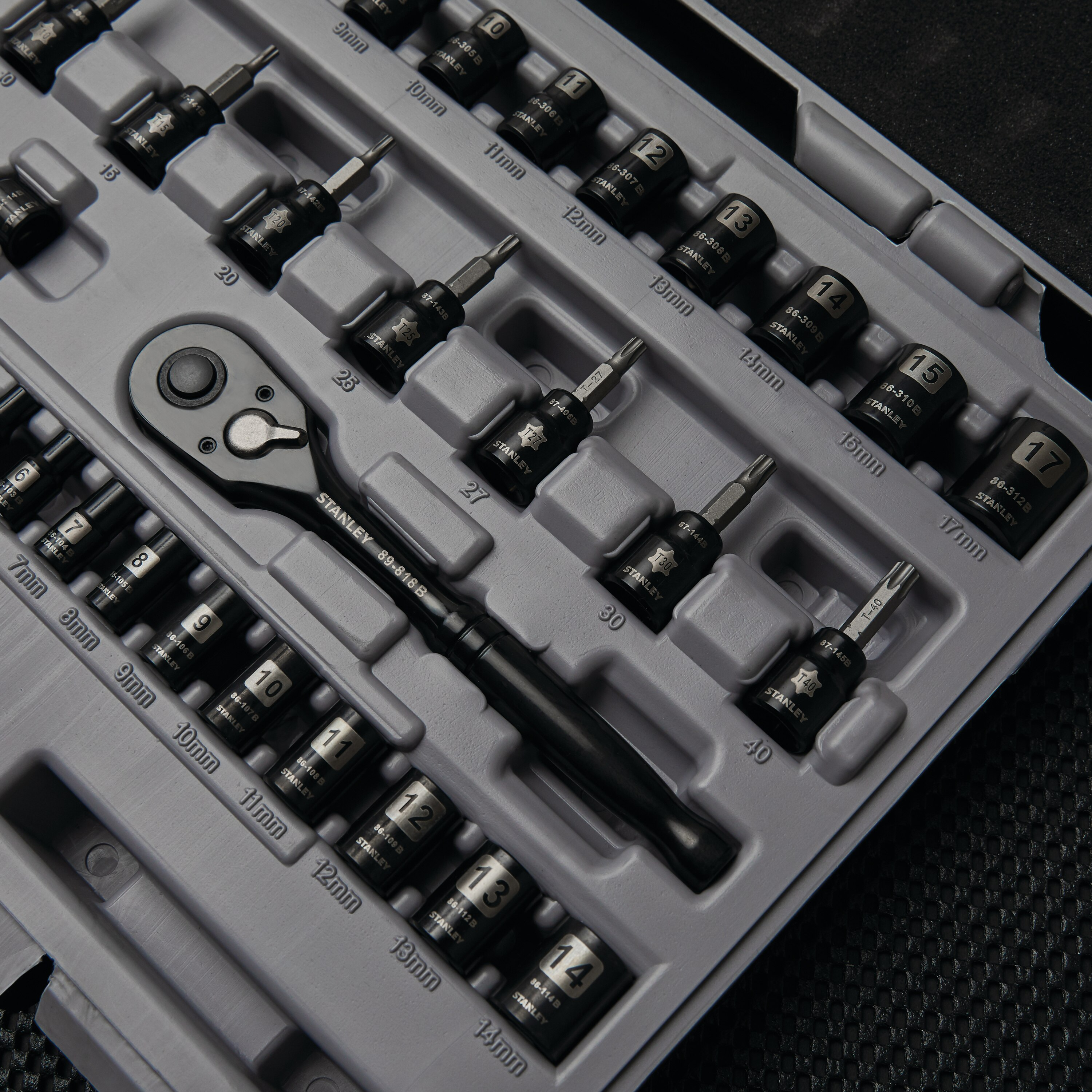 Stanley Tools - 50 pc Black Chrome Socket Set - STMT71649