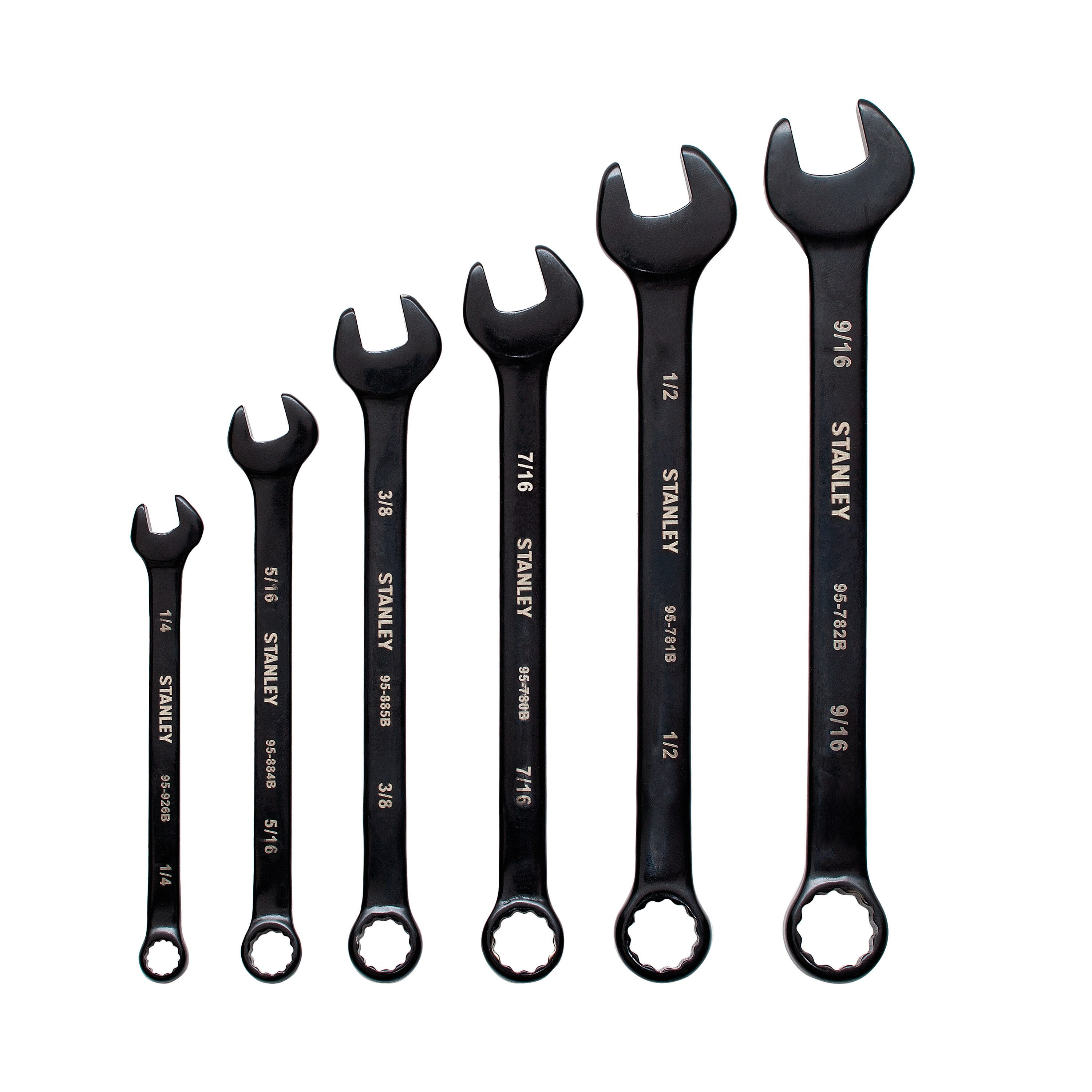 Stanley Tools - 6 pc Black Chrome Combination Wrench Set - STMT76005