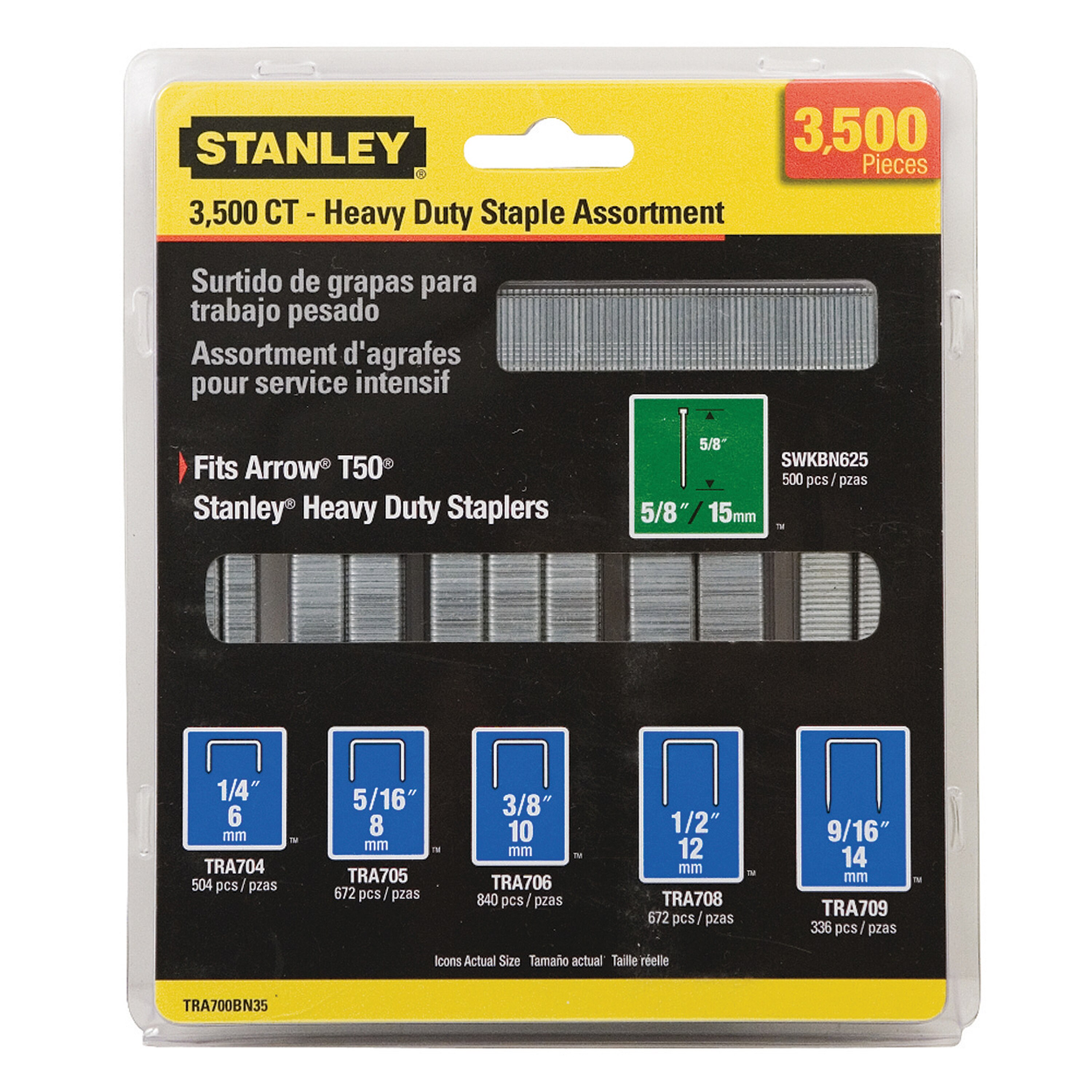 Stanley Tools - 3500 pc Heavy Duty Staple and Brand Assortments - TRA700BN35