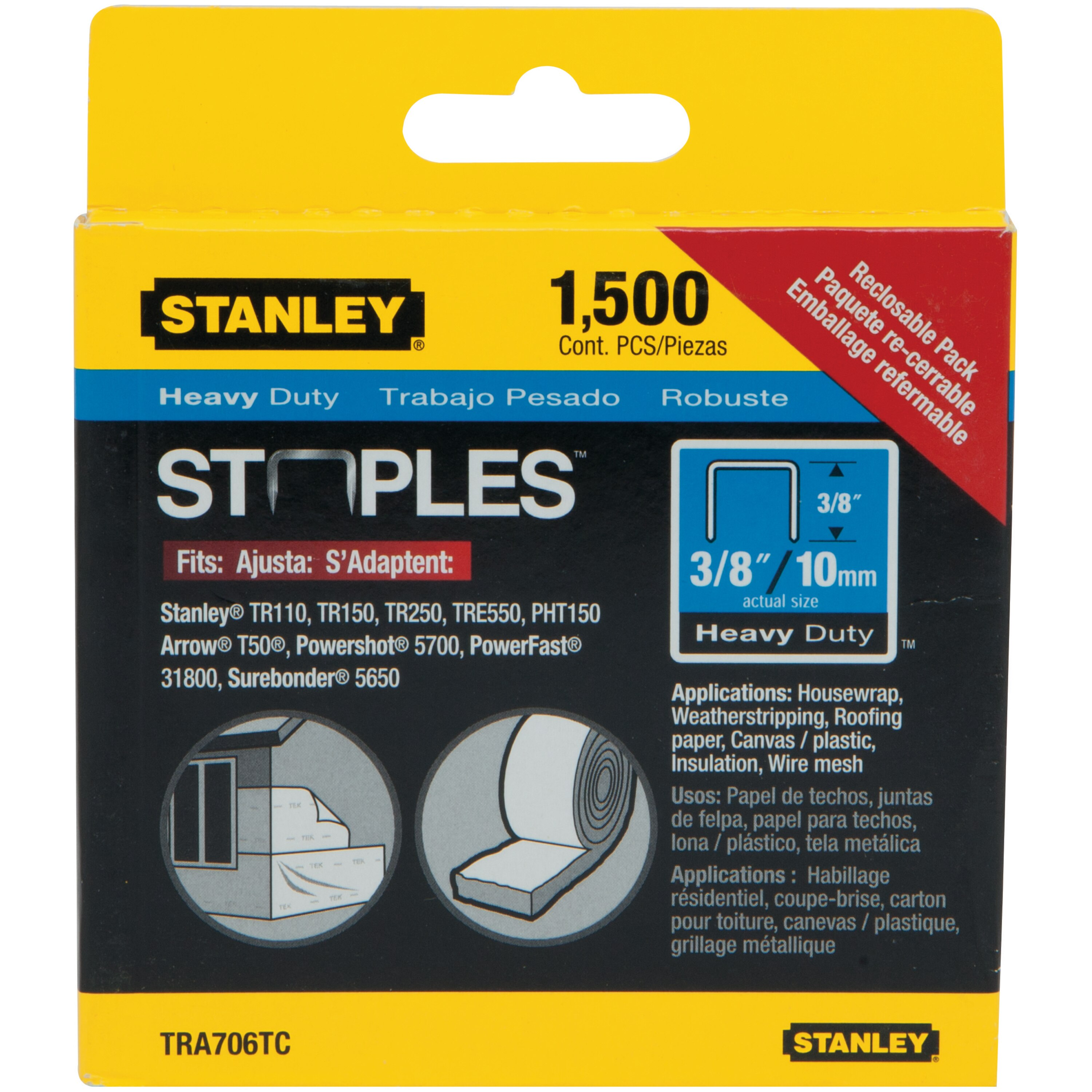 Stanley Tools - 1500 pc 38 in Heavy Duty Staples - TRA706TCS