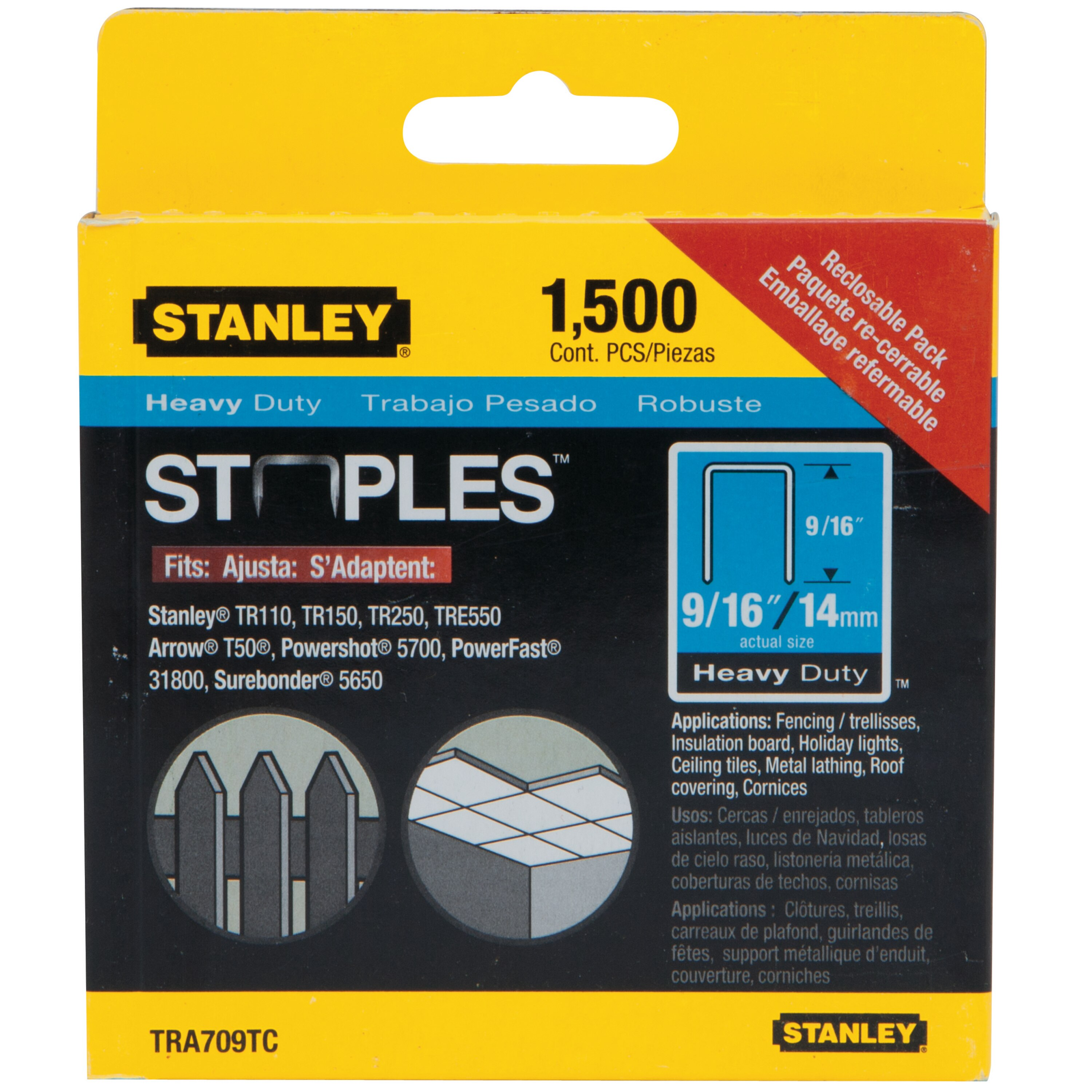 Stanley Tools - 1500 pc 916 in Heavy Duty Staples - TRA709TCS